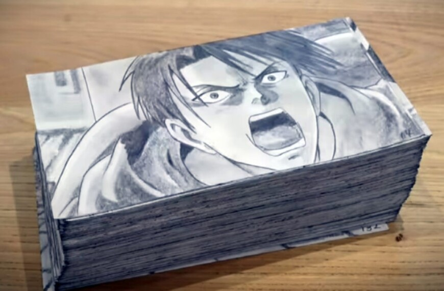The anime attack on Titan Flipbook took 400 hours to complete